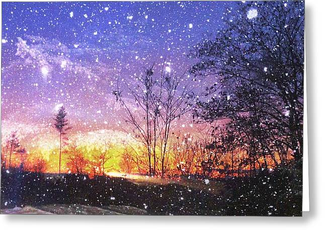 Snow Scene Landscape Greeting Cards - Magic of Maine Greeting Card by Mike Breau