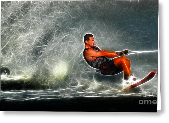 Skiing Fine Art Greeting Cards -  Water Skiing Magical Waters 2 Greeting Card by Bob Christopher