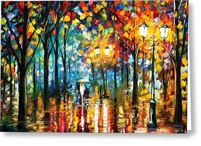 Popular Art Greeting Cards - Magic Park - PALETTE KNIFE Oil Painting On Canvas By Leonid Afremov Greeting Card by Leonid Afremov