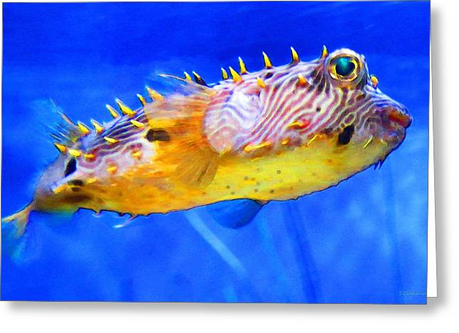 Green Spotted Puffer Fish Greeting Cards - Magic Puffer - Fish Art By Sharon Cummings Greeting Card by Sharon Cummings
