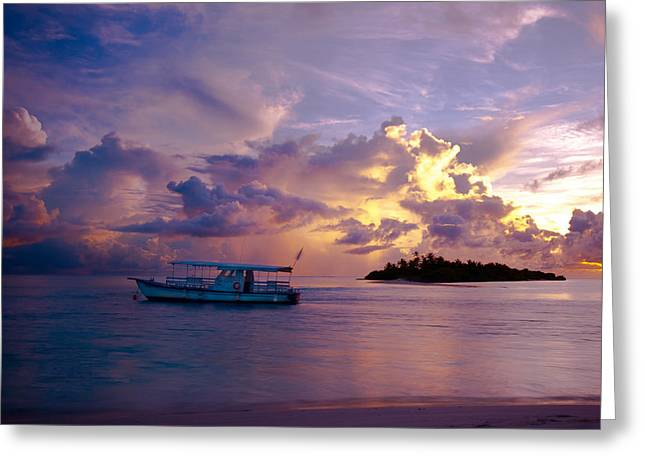 Evgeniya Vlasova Greeting Cards - Magic Sky. Maldivian Island Greeting Card by Jenny Rainbow