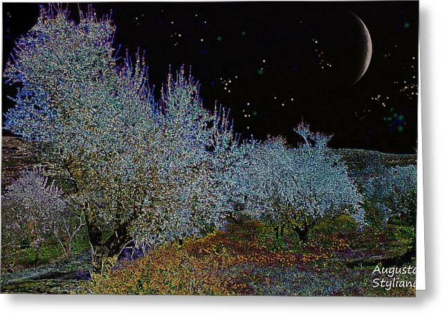Star Valley Greeting Cards - Magic Spring Night Greeting Card by Augusta Stylianou