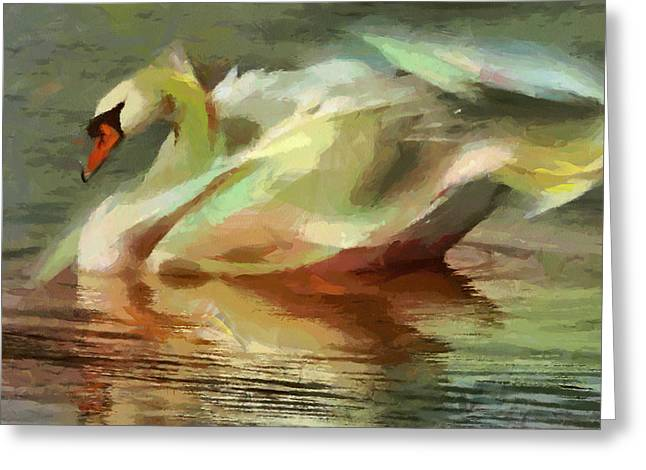 Recently Sold -  - Abstract Digital Paintings Greeting Cards - Magic swan Greeting Card by Georgi Dimitrov