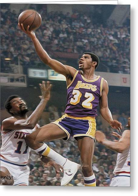 Lakers Paintings Greeting Cards - Magic time Greeting Card by Paint Splat