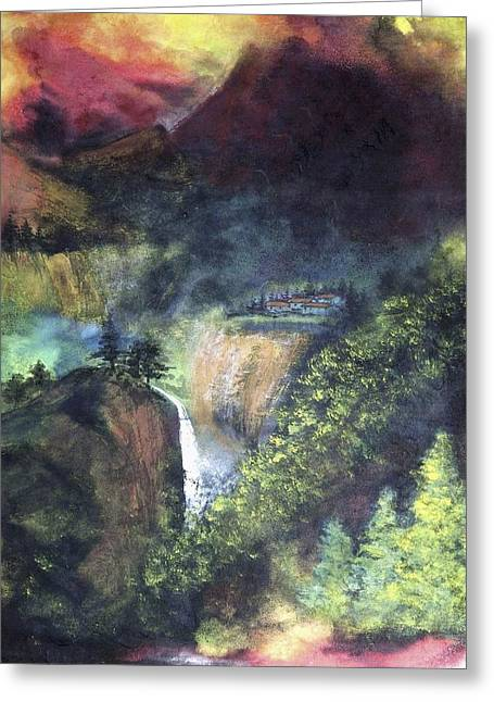 Pouring Mixed Media Greeting Cards - Magic Valley Greeting Card by Ming Franz