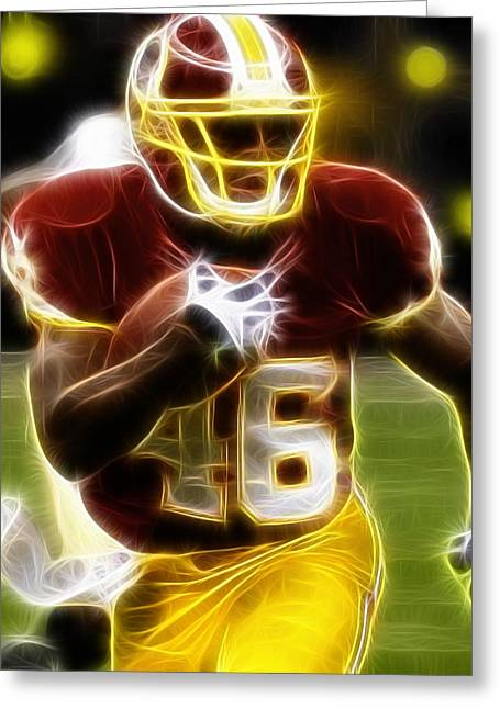 Player Drawings Greeting Cards - Magical Alfred Morris Greeting Card by Paul Van Scott