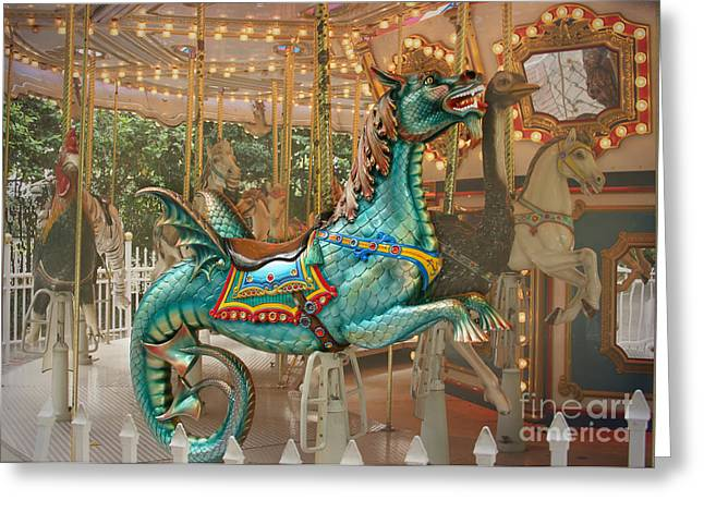 Magical Carousel Greeting Card by Sabrina L Ryan