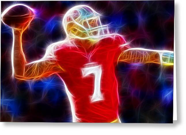 49ers Drawings Greeting Cards - Magical Colin Kaepernick Greeting Card by Paul Van Scott