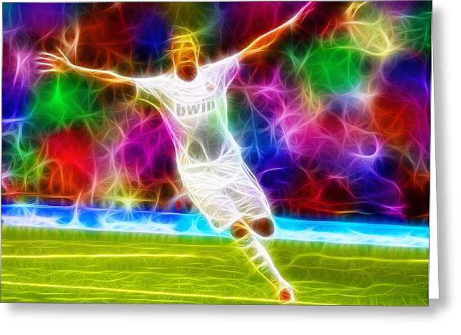 Real Madrid Drawings Greeting Cards - Magical Cristiano Ronaldo Greeting Card by Paul Van Scott