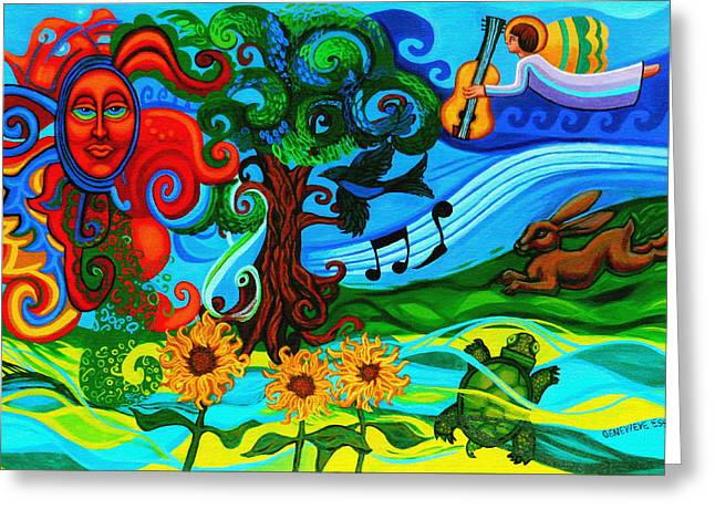 Gaia Paintings Greeting Cards - Magical Earth II Greeting Card by Genevieve Esson