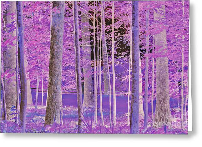 Night Lamp Greeting Cards - Magical forest Greeting Card by Claudia Mottram