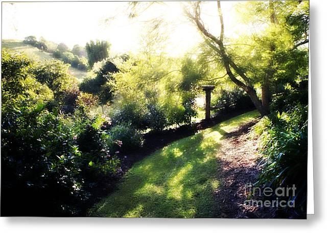 Dappled Light Digital Art Greeting Cards - Magical Garden  Greeting Card by Linde Townsend