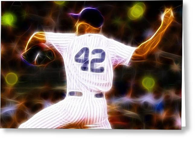 Pitcher Drawings Greeting Cards - Magical Mariano Rivera Greeting Card by Paul Van Scott