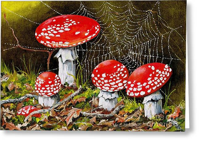 Forest Floor Paintings Greeting Cards - Magical Mushrooms no 2 Greeting Card by Val Stokes