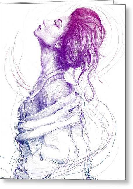 Pencil Greeting Cards - Purple Fashion Illustration Greeting Card by Olga Shvartsur