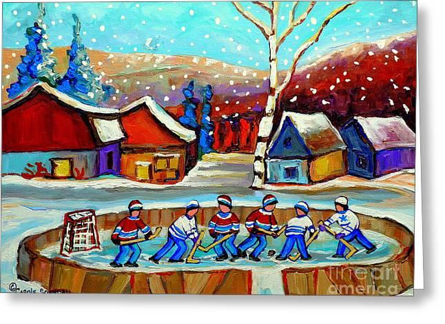Country Hockey Greeting Cards - Magical Pond Hockey Memories Hockey Art Snow Falling Winter Fun Country Hockey Scenes  Spandau Art Greeting Card by Carole Spandau