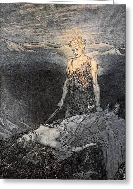 Norse Mythology Greeting Cards - Magical Rapture Pierces My Heart; Fixed Greeting Card by Arthur Rackham