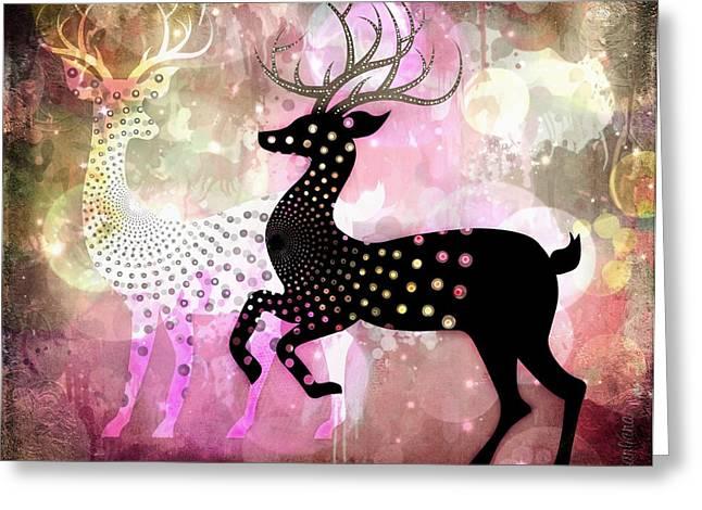 Wildlife Celebration Greeting Cards - Magical Reindeers Greeting Card by Barbara Orenya