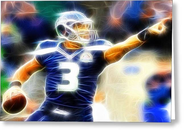 Player Drawings Greeting Cards - Magical Russell Wilson Greeting Card by Paul Van Scott