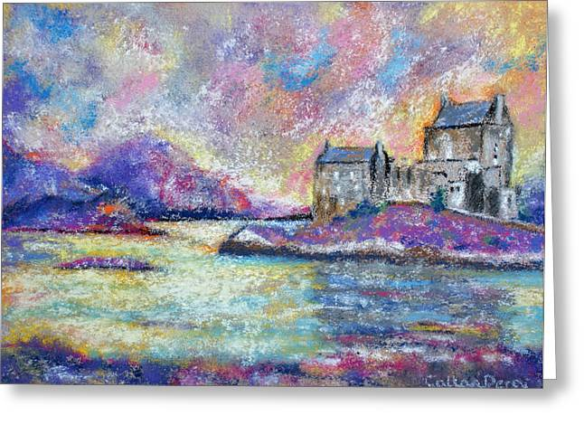 Historical Buildings Pastels Greeting Cards - Magical Scottish Castle Greeting Card by Callan Percy