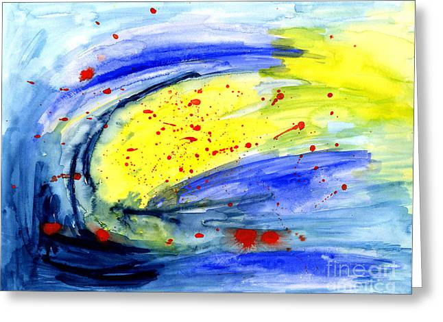 Rotate Paintings Greeting Cards - Magical Sky  Greeting Card by Mukta Gupta