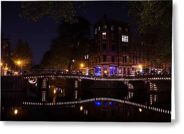 Streetlight Greeting Cards - Magical Sparkling Amsterdam Canals and Bridges at Night Greeting Card by Georgia Mizuleva