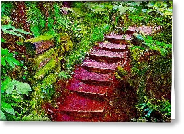Wooden Stairs Mixed Media Greeting Cards - Magical Stairway Through Mysterious Forest Greeting Card by Joel Bruce Wallach