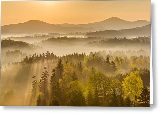Haze Greeting Cards - Magical Sunrise Greeting Card by Jan Stria