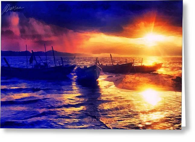 Marina Likholat Greeting Cards - Magical sunset Greeting Card by Marina Likholat
