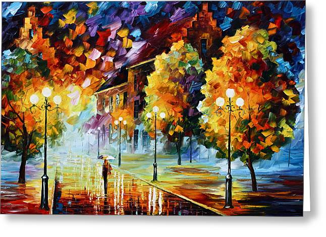 City Rain Greeting Cards - Magical Time Greeting Card by Leonid Afremov