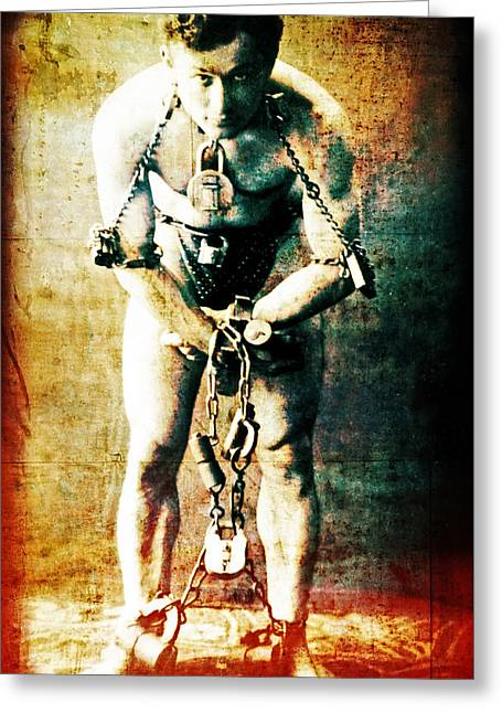 Tricks Greeting Cards - Magician Harry Houdini in Chains   Greeting Card by The  Vault - Jennifer Rondinelli Reilly