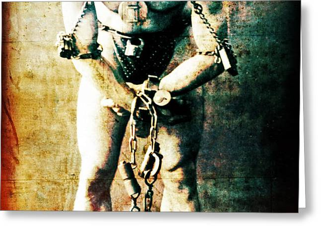 Magician Harry Houdini in Chains   Greeting Card by The  Vault - Jennifer Rondinelli Reilly