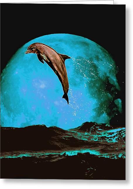 Sea Moon Full Moon Mixed Media Greeting Cards - Magician Of Seas Greeting Card by Richard Tito
