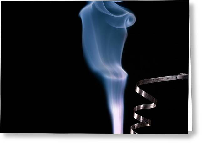 Magnesium Ribbon Burning In Air Greeting Card by Science Photo Library