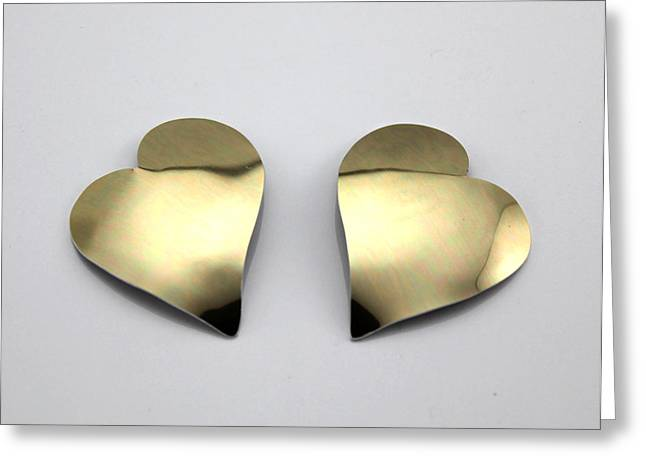 Gold Earrings Greeting Cards - Magnetic Earrings Greeting Card by Laura Wilson