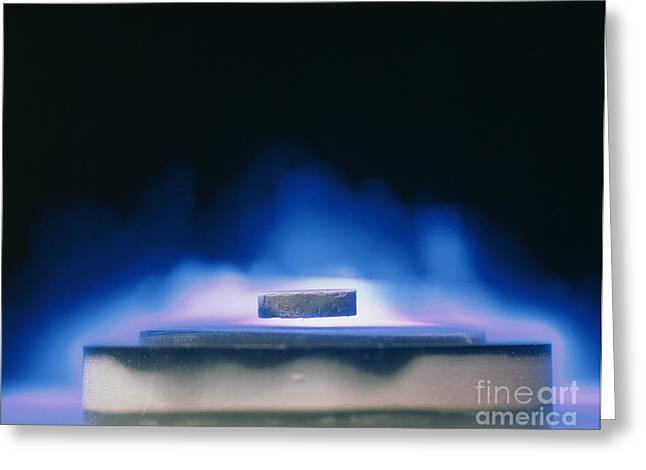 Levitation Photographs Greeting Cards - Magnetic Levitation Of High Tc Greeting Card by David Parker