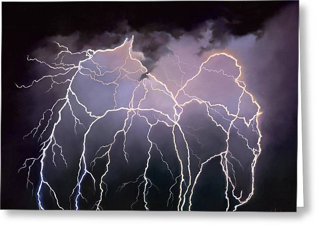 Lightning Pastels Greeting Cards - Magnetism Greeting Card by Kim McElroy