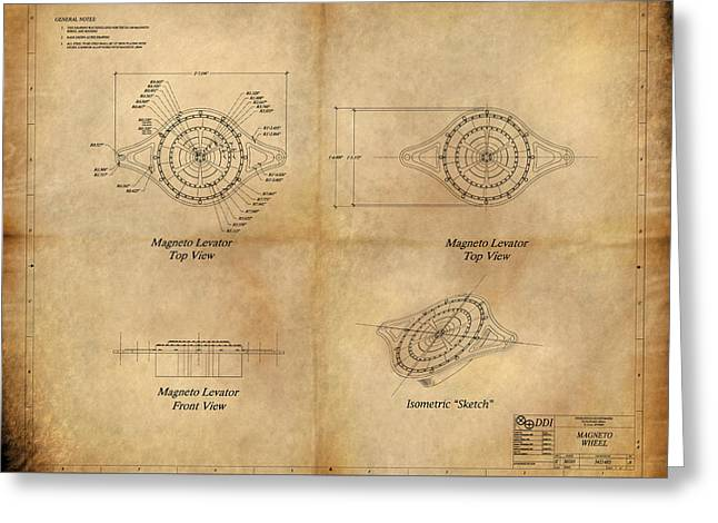 Magneto System Blueprint Greeting Card by James Christopher Hill