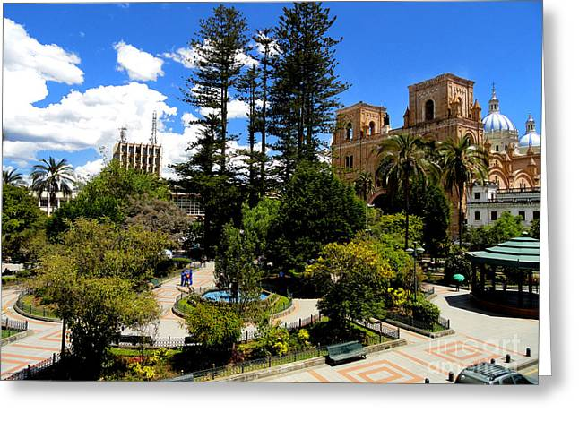 Al Central Greeting Cards - Magnificent Center Of Cuenca Ecuador Greeting Card by Al Bourassa
