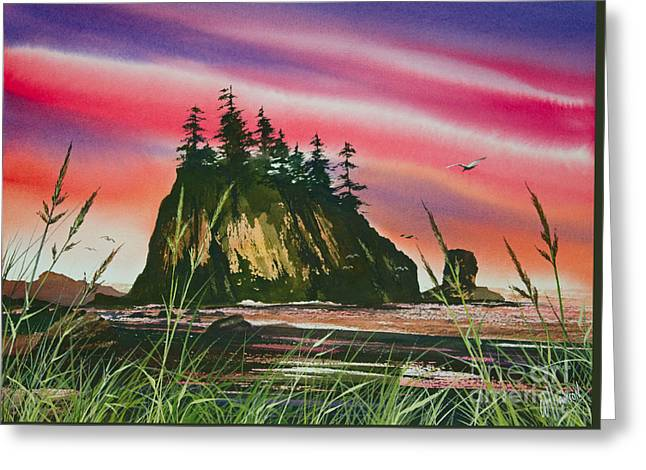 Sunset Greeting Cards Paintings Greeting Cards - Magnificent Coast Greeting Card by James Williamson
