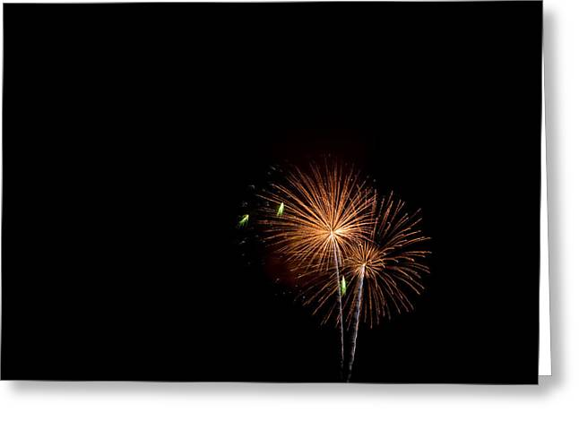 Pyrotechnics Greeting Cards - Magnificent colorful firework mortar display Greeting Card by David Millenheft