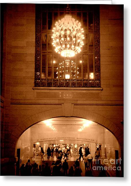 Sepia Chandeliers Greeting Cards - Magnificent Grand Central Station Shuttle Passage Greeting Card by Miriam Danar