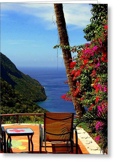 St Lucia Greeting Cards - Magnificent Ladera Greeting Card by Karen Wiles