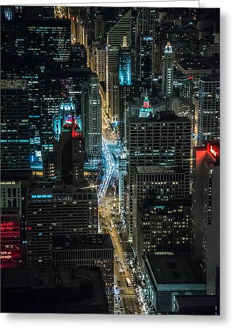 Magnificent Mile Greeting Cards - Magnificent Mile at night from the 96th Greeting Card by Alan Marlowe