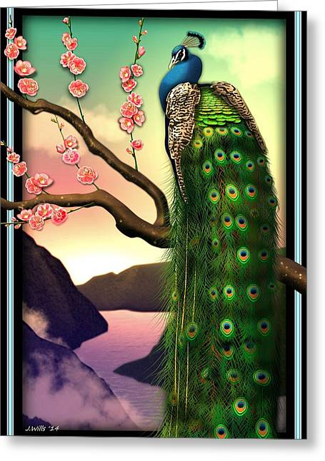 Beautiful Scenery Digital Art Greeting Cards - Magnificent Peacock on Plum Tree in Blossom Greeting Card by John Wills