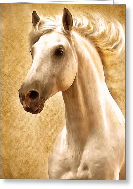 Wild Horses Mixed Media Greeting Cards - Magnificent Presence Horse Painting Greeting Card by Georgiana Romanovna