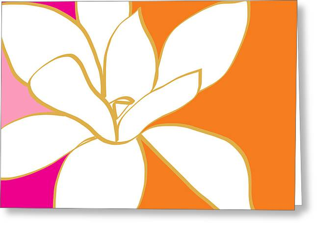 Southern Design Greeting Cards - Magnolia 3- colorful flower art Greeting Card by Linda Woods
