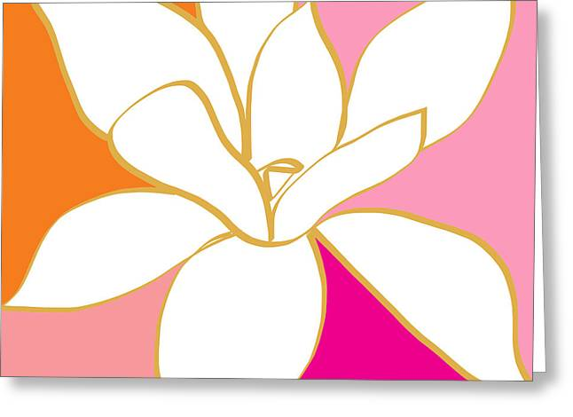Southern Design Greeting Cards - Magnolia 4- colorful flower art Greeting Card by Linda Woods