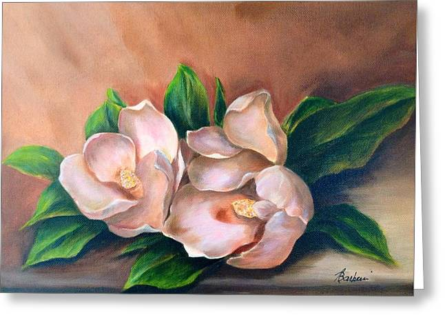 Flower Still Life Prints Greeting Cards - Magnolia Greeting Card by Anne Barberi