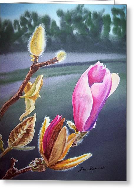 Magnolia Blossoms Greeting Card by Irina Sztukowski